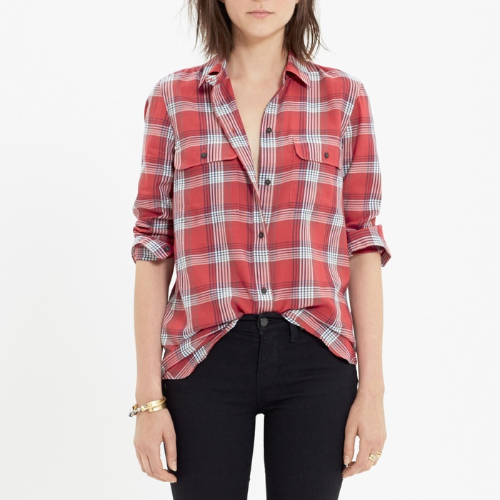 Best Plaid Button Downs - Madewell Ex-Boyfriend Shirt in Cherry Plaid
