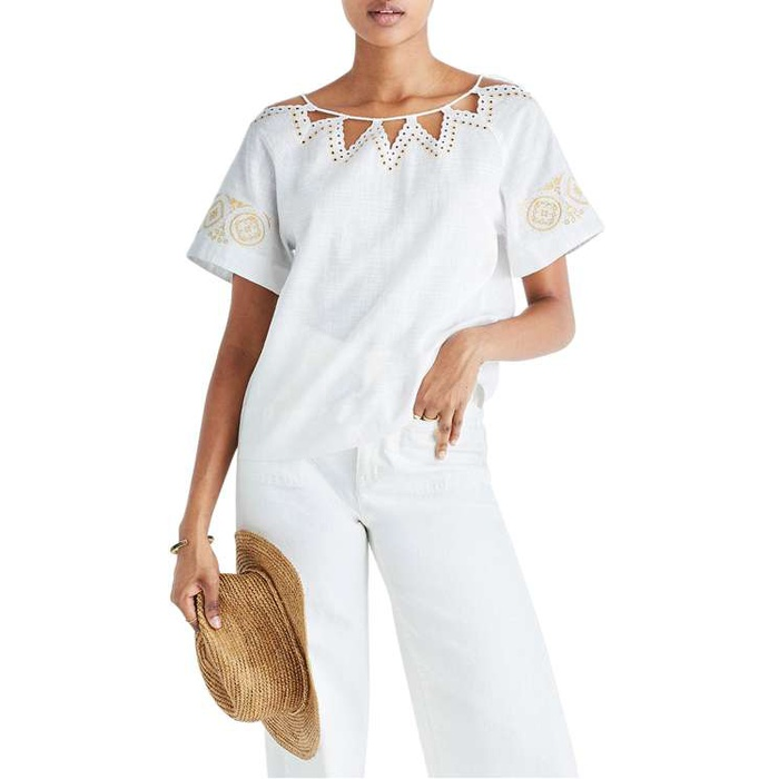 Best Summer Tops With Sleeves - Madewell Eyelet Peekaboo Top