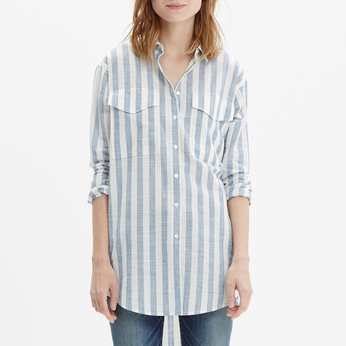 Best Summer's Best Chambray Fashion - Madewell Oversized Button-Down Shirt in Major Stripe