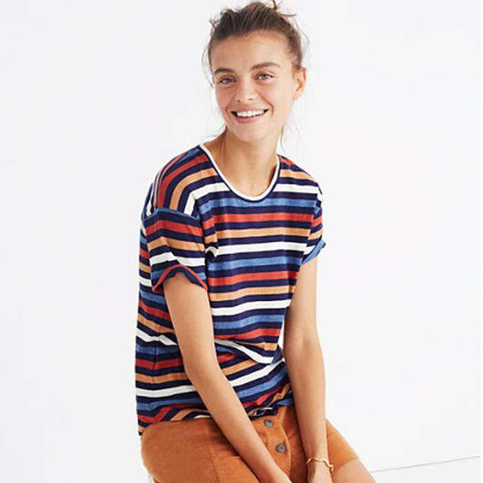Best Rainbow Fashion Pieces - Madewell Whisper Cotton Crewneck Tee in Lennie Stripe