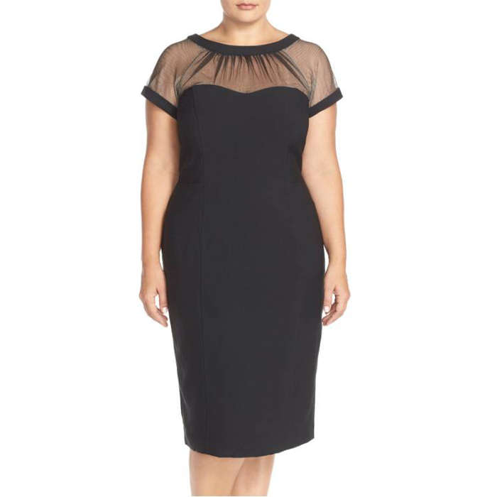 Best Plus Size Party Dresses - Maggy London Illusion Yoke Crepe Sheath Dress