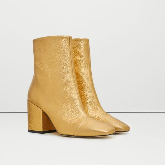 Best Metallic Shoes Under $150 - Mango Metallic Leather Ankle Boots