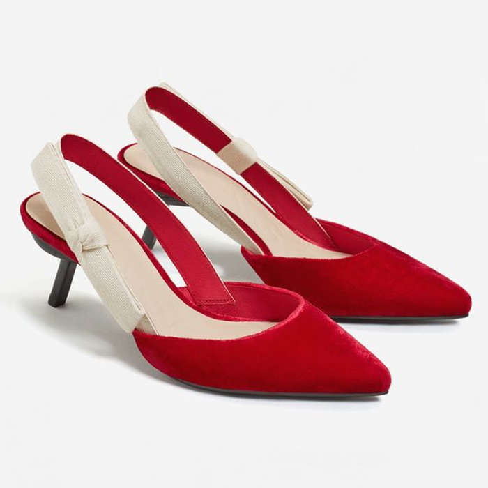 Best Kitten Heels - Mango Velvet Slingback Shoes