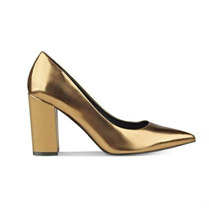 Best Metallic Shoes Under $150 - Marc Fisher Daniela Pointy-Toe Block-Heel Pumps in Gold