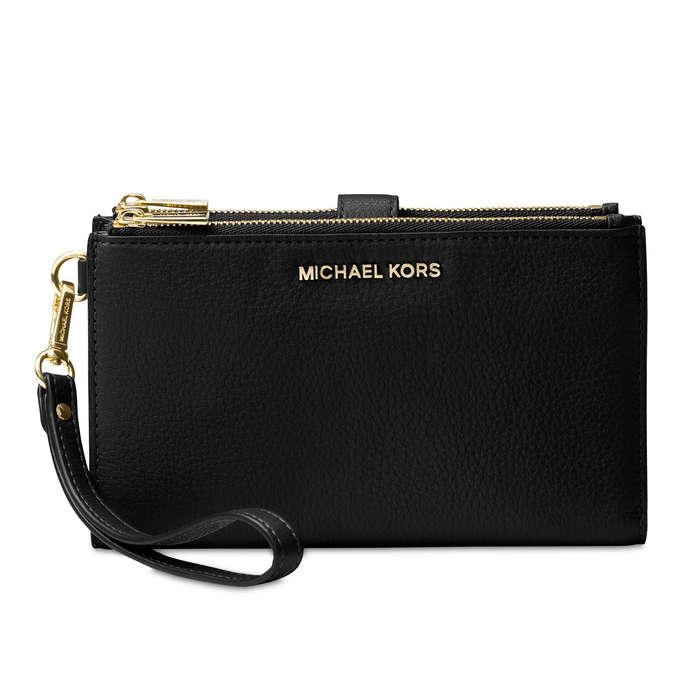 5db3a7cca778 MICHAEL Michael Kors Adele Double-Zip Pebble Leather Phone Wristlet