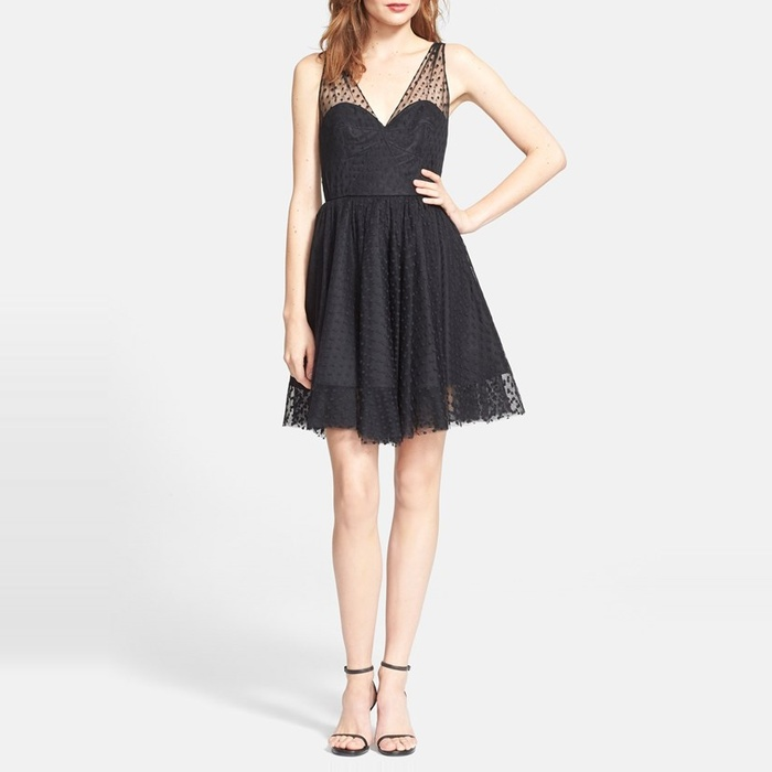 Best Black Cocktail Dresses for Fall - Milly Grace Dotted Tulle Dress