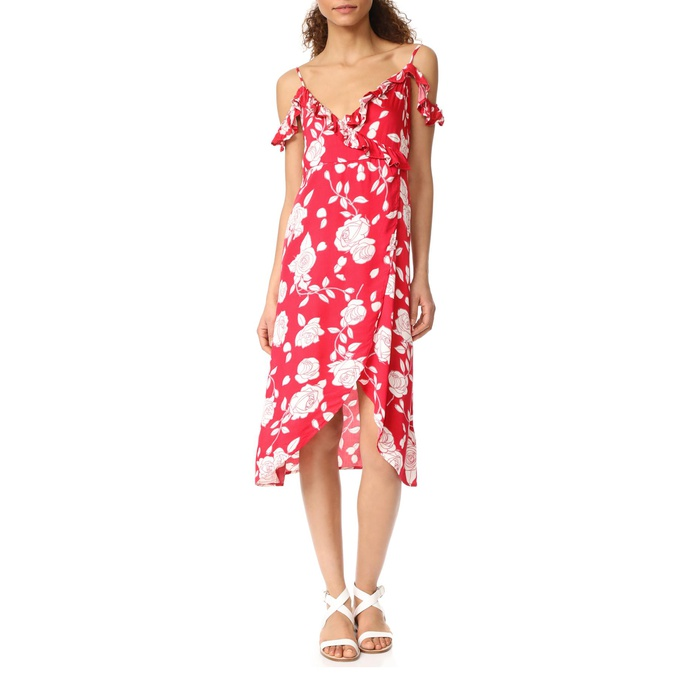 Best Amazon Dresses Under $150 - MinkPink Enchanted Rose Print Midi Wrap Dress