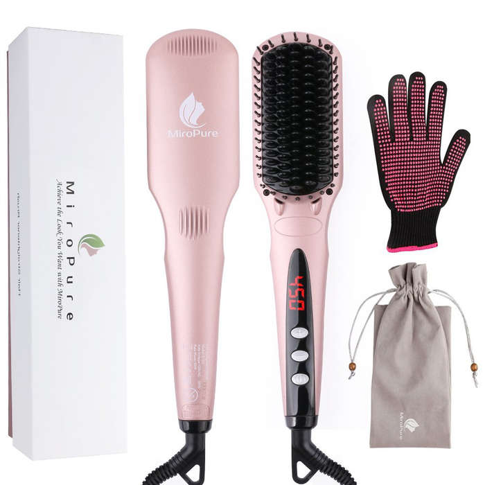 Best Hair Straightening Brushes - MiroPure 2 in 1 Ionic Hair Straightener Brush