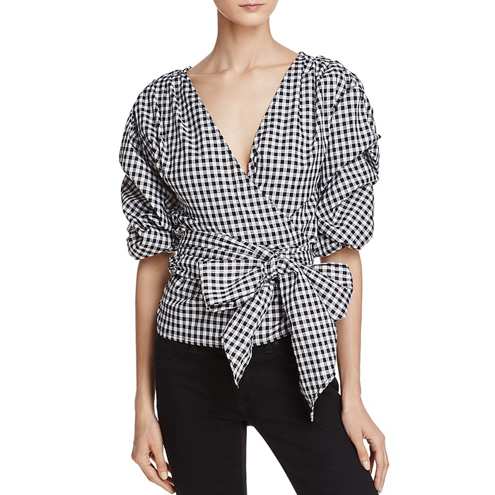 Best Gingham Tops - MLM LABEL Salo Gingham Wrap Shirt