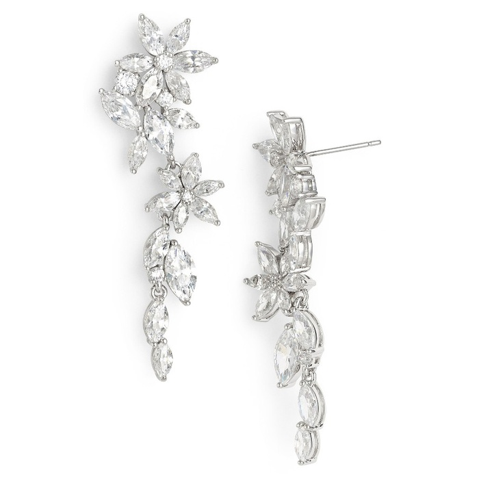 Best Bridal Earrings - Nadri Floral Crystal Linear Drop Earrings