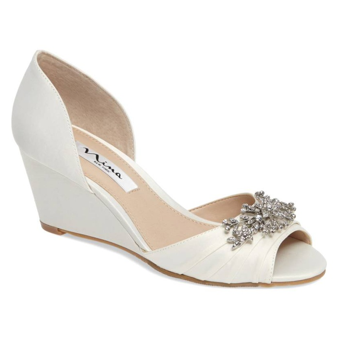 Best Bridal Wedges - Nina Emiko d'Orsay Wedge Pump