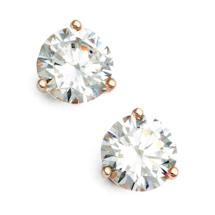 Best Bridal Earrings - Nordstrom Precious Metal Plated 2ct tw Cubic Zirconia Earrings