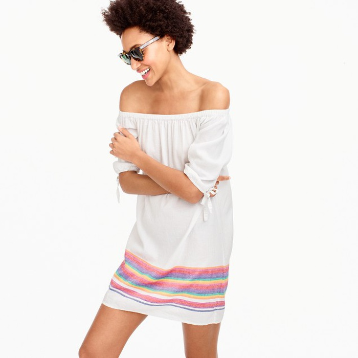 Best Casual Off The Shoulder Dresses - J.Crew Off-The-Shoulder Beach Dress With Rainbow Stripes