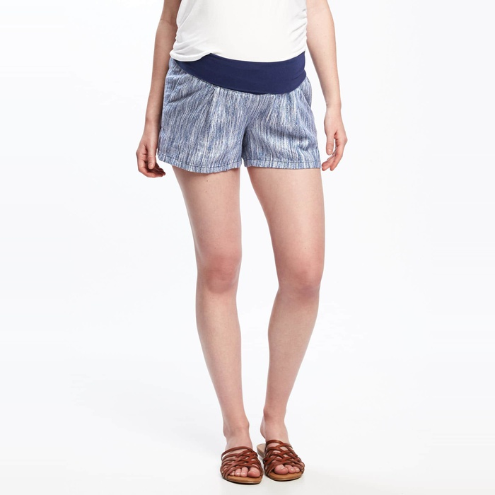 Best Maternity Shorts - Old Navy Maternity Roll-Panel Dobby Linen Shorts