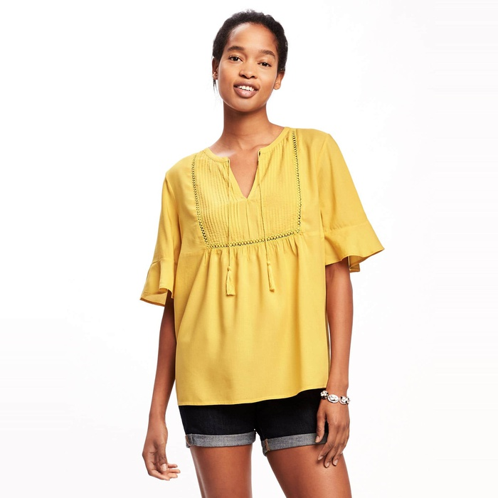 Best Summer Tops With Sleeves - Old Navy Pintuck Ruffle Sleeve Swing Top