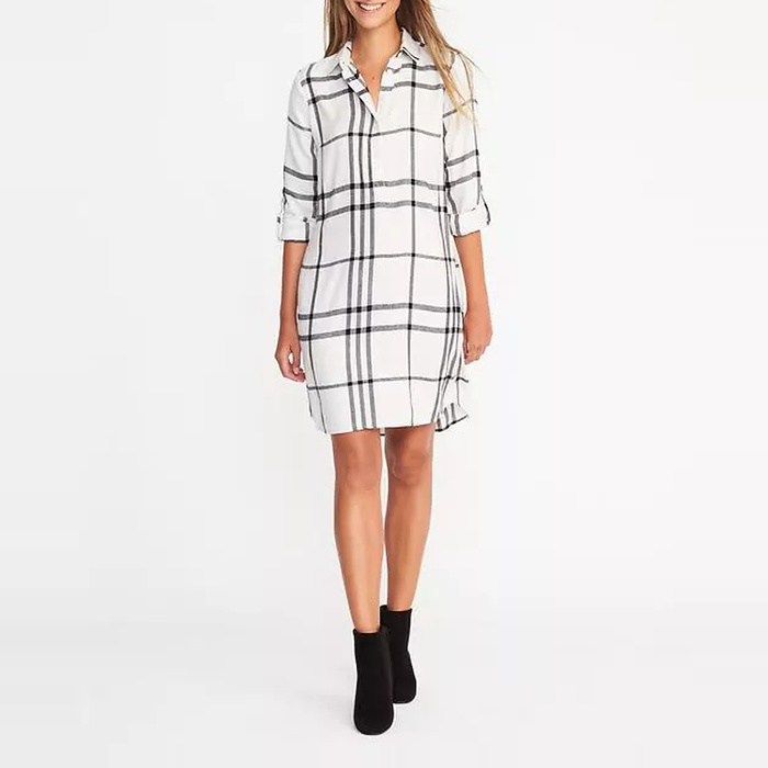 Best Transitional Dresses - Old Navy Plaid Pullover Shirt Dress