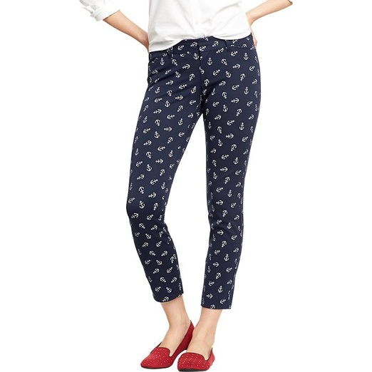 Best Nautical Inspired Bests - Old Navy The Pixie Skinny-Ankle Pants in Anchor Print