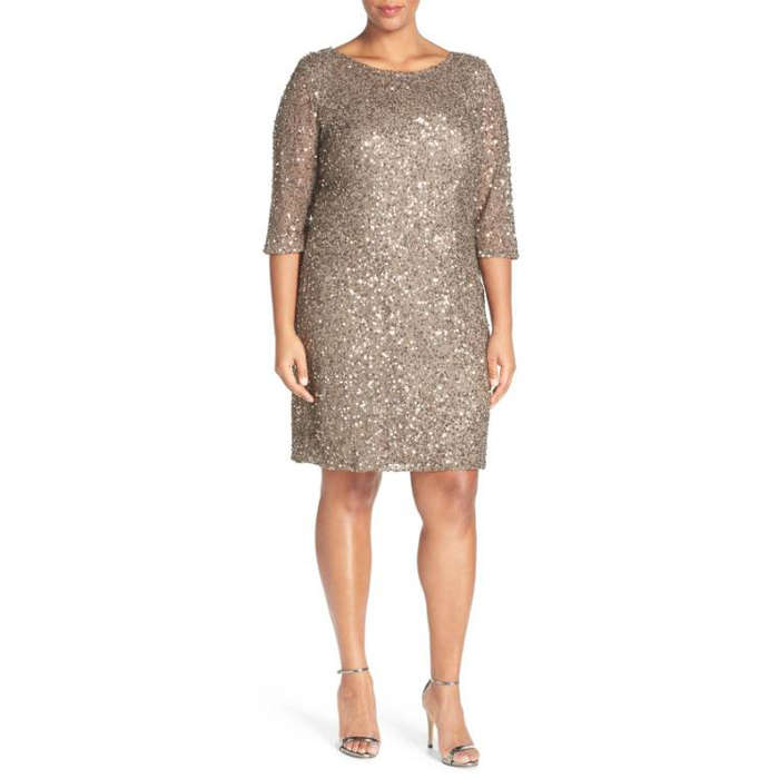 Best Plus Size Party Dresses - Pisarro Nights Draped Back Beaded Dress