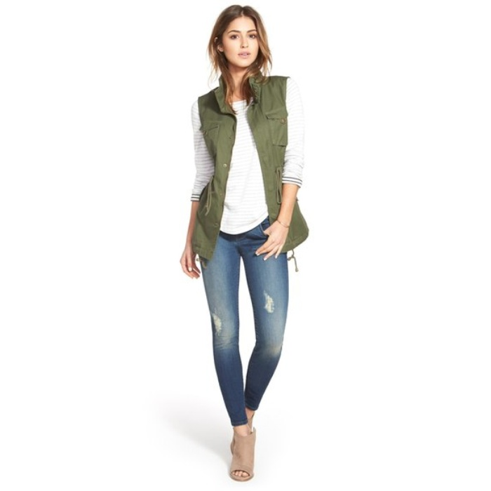 Best Fashion Vests - Pleione Cotton Twill Military Vest
