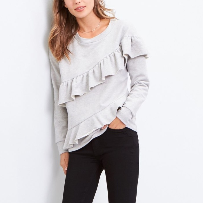 Best Ruffle Tops - Pleione French Terry Ruffle Sweatshirt