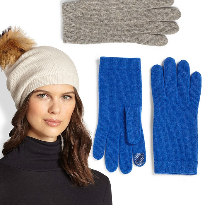 Best Hats & Gloves - Portolano Honeycomb Stitched Fur Pom-Pom Hat and Texting Gloves