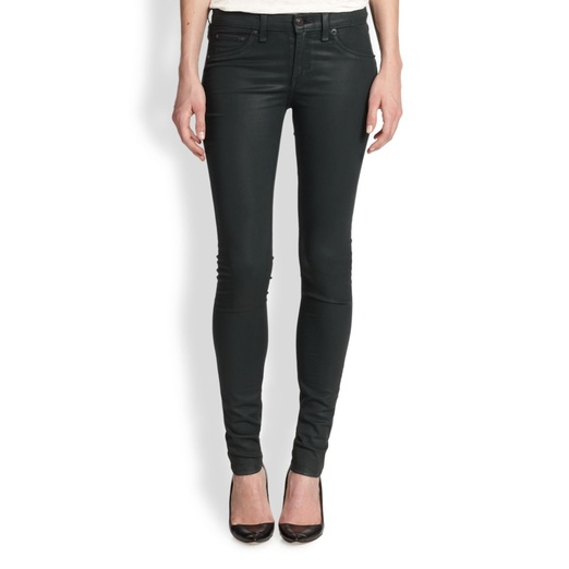 Best Jewel-Toned Denim - rag & bone/JEAN The Legging Coated Jeans