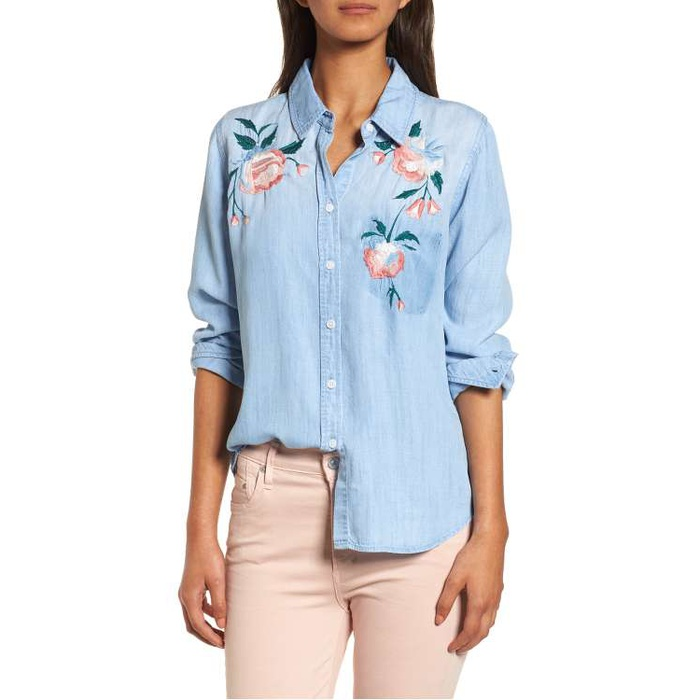 Best Summer Tops With Sleeves - Rails Chandler Embroidered Chambray Shirt