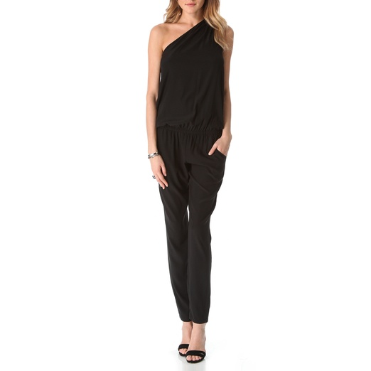 Best Black Sleeveless Jumpsuits - Ramy Brook Lulu Stretch Silk One-Shoulder Jumpsuit