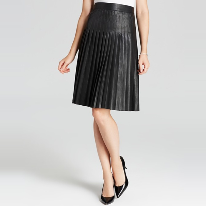 MSGM Pleated Faux Leather Skirt | Rank & Style