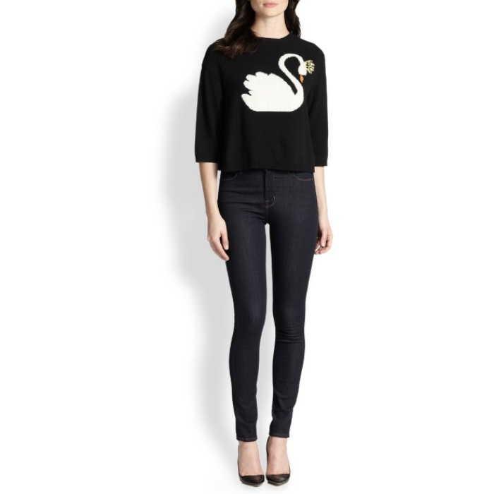 Best Animal Motif Sweaters - RED Valentino Intarsia-Swan Cropped Sweater