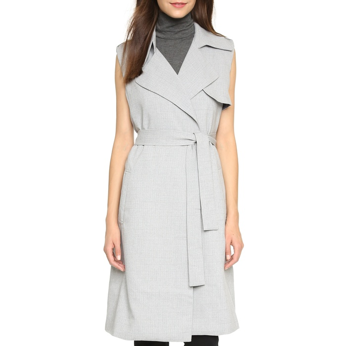 Best Long Vests - re:named Belted Trench Vest