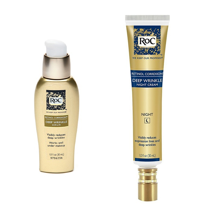 Best Anti-aging products under $30 - RoC Retinol Correxion Deep Wrinkle Night Cream and Deep Wrinkle Serum