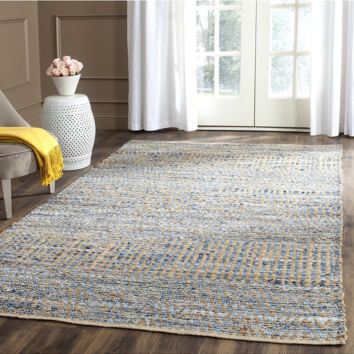 Best Area Rugs Under $300 - Safavieh Cape Cod Collection Hand Woven Flatweave Natural and Blue Jute Area Rug