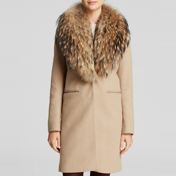 Best Camel Coats - SAM. Crosby Wool Coat with Fur Trim