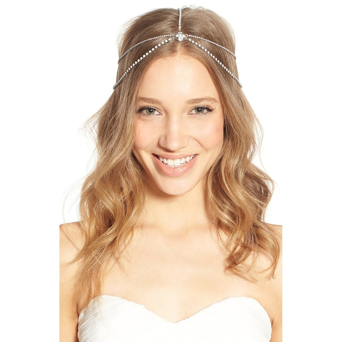 Best Bridal Hair Accessories - Sara Gabriel Lindsay Embellished Hair Chain