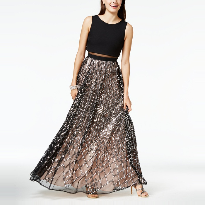 Best Prom Dresses Under $200 - Say Yes to the Prom Sequined Illusion Popover Gown