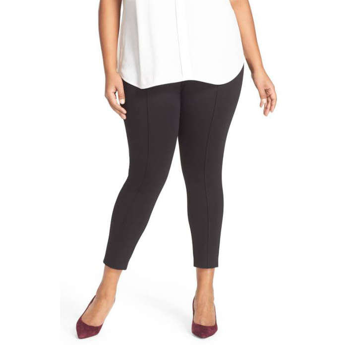 Best Plus Size and Curve Leggings - Sejour Seam Detail Crop Ponte Leggings