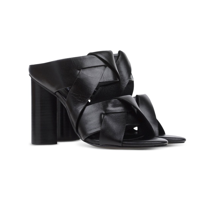 Best Mules for Summer - Senso Black Leather Heeled Mule Sandals