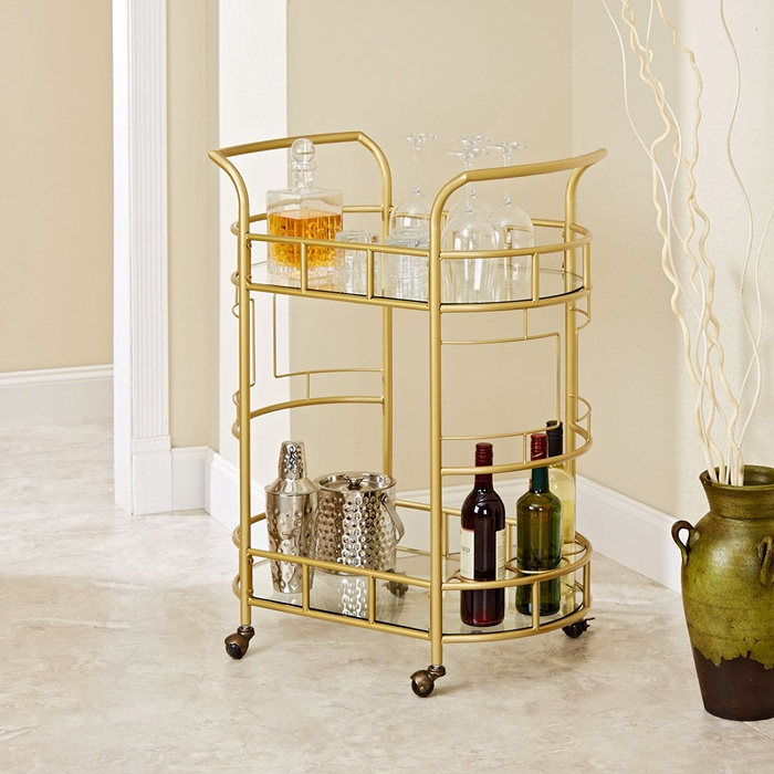 Best Bar Carts Under $200 - Silverwood Sinclair 2 Tier Serving Cart