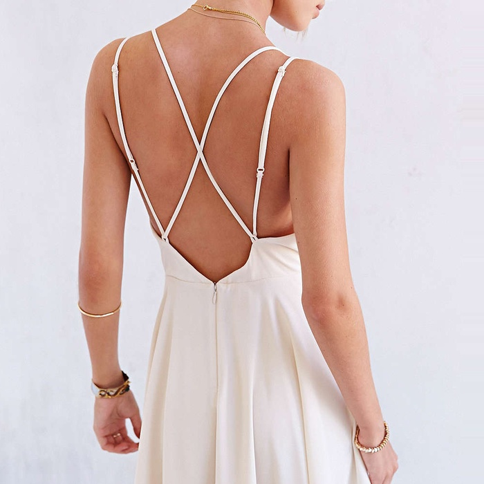 Best Backless Dresses - Sparkle & Fade Strappy Chiffon Skater Dress