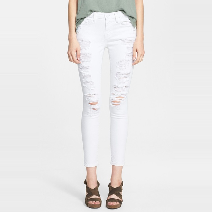 Best Winter Jeans - Current/Elliott Stiletto in White Tattered
