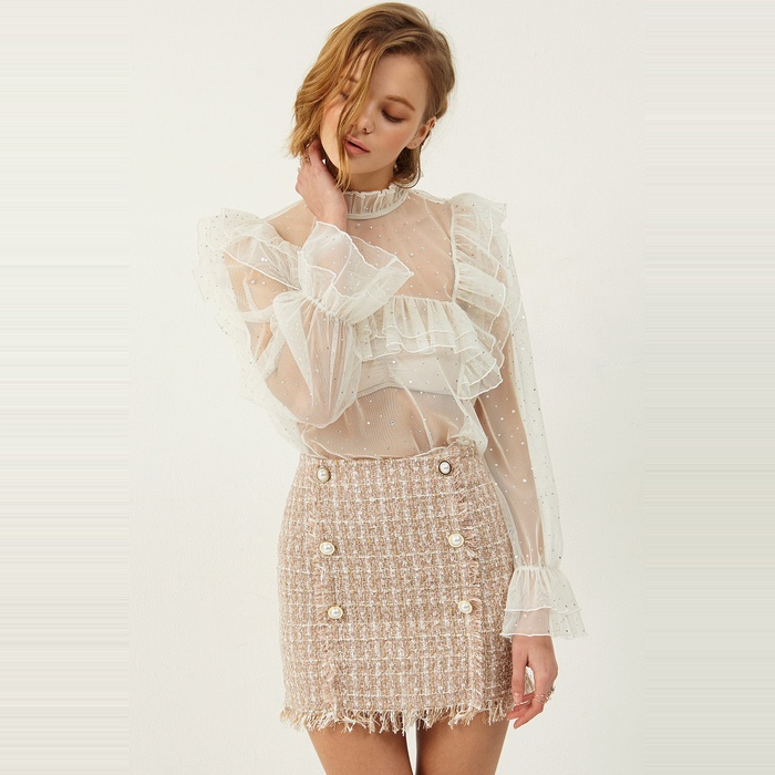 Best Sheer Layering Tops - Storets Selma Dot Ruffle Mesh Blouse