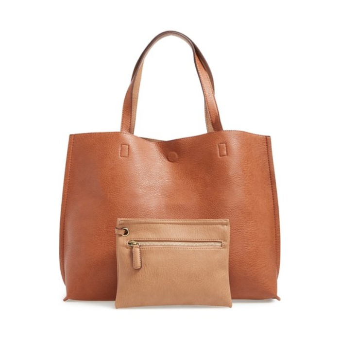 Best Fashion Staples - Street Level Reversible Faux Leather Tote & Wristlet