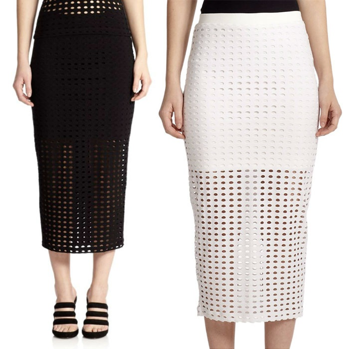 Best Perforated & Laser Cut Bests - T by Alexander Wang Perforated Overlay Pencil Skirt