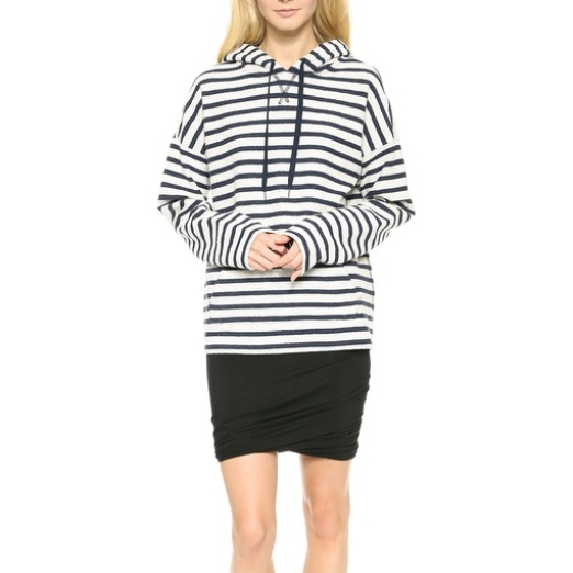 Best Stylish Hoodies - T by Alexander Wang Stripe French Terry Hooded Sweatshirt