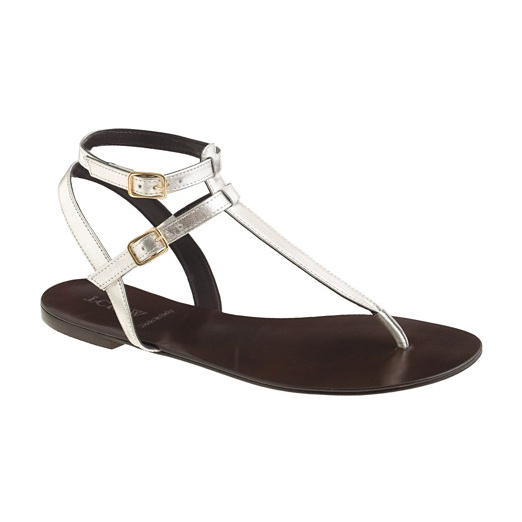 Best Metallic Sandals - J.Crew Tabbie T-Strap Sandals