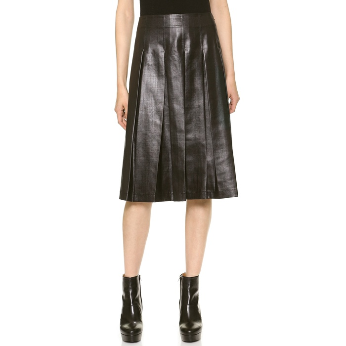 Best Pleated Faux Leather Skirts - Tess Giberson Coated Pleated Skirt