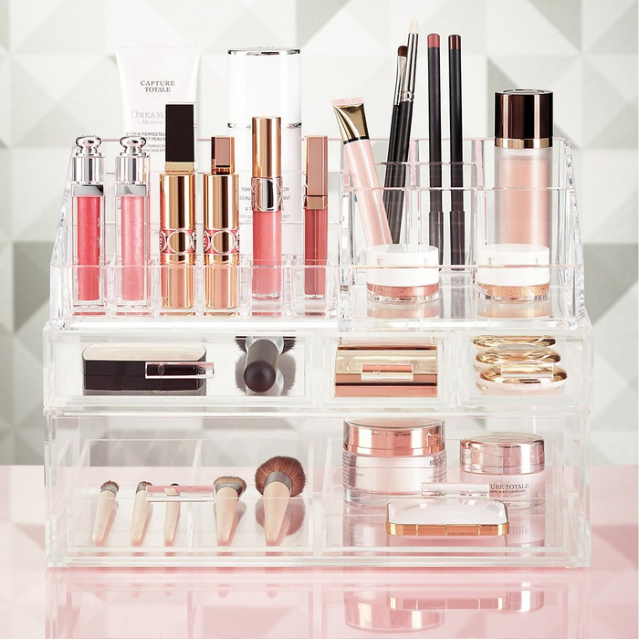Best Makeup Organizers - The Container Store Luxe Acrylic Makeup Storage Kit