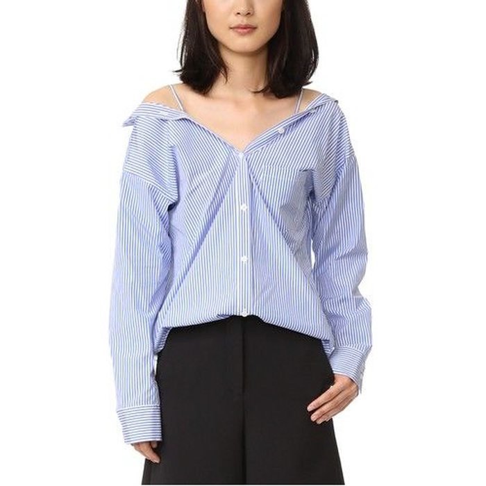 Best Summer Tops With Sleeves - Theory Tamalee Dalton Stripe Cold-Shoulder Shirt