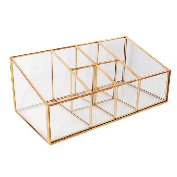 Best Makeup Organizers - Threshold Glass And Metal Vanity Organizer